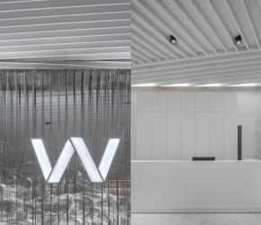 """Pattern of WONJIN"" The pattern and elements in the space are delineated from the W letter, Wonjin's initial and a logo. These are used in various scales in design of the space.  