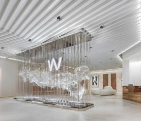 The use of the diagonal line derived from the W letter as its Wonjin's initial and a logo. While these element and pattern help lead the eye to the main welcoming area, the designer applies them to all waiting lounge areas.